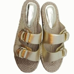 Gold Joie Espadrille Slide Sandal